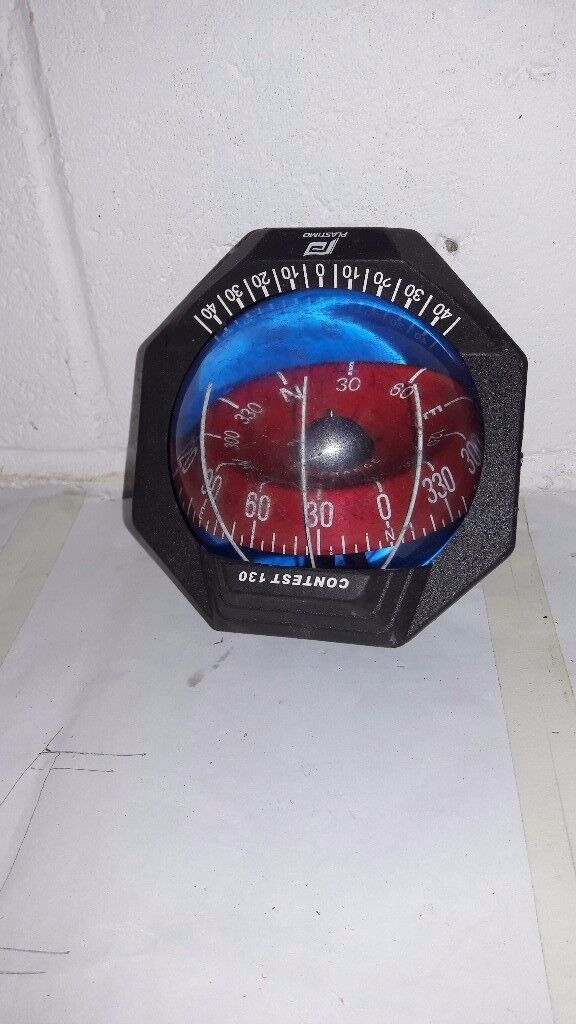 Bulkhead compass. Plastimo Contest, white, with cover and LED lights