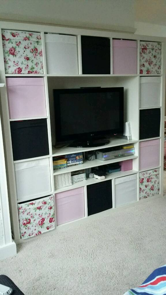 ikea expedit kallax cube tv unit storage with all boxes in rugby warwickshire gumtree. Black Bedroom Furniture Sets. Home Design Ideas