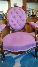 Antique Victoria button back chair
