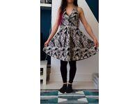 H&M leaf print black & white halter neck fit & flare dress size 8 10 brand new