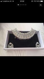 Crystal choker and earrings
