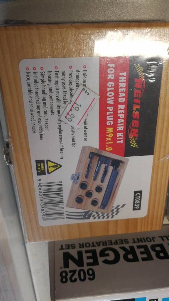 Thread repair kit for glow plug m9x1. 0