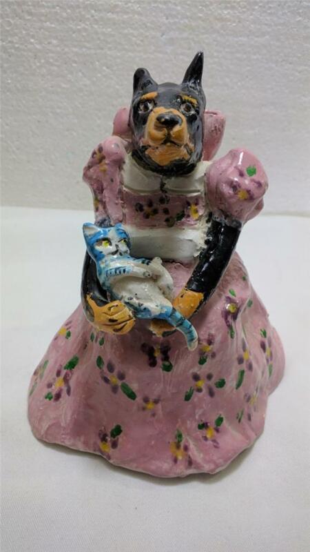 Original Pottery Bell Doberman Dog in Dress w Kitten by J Joplin San Antonio TX