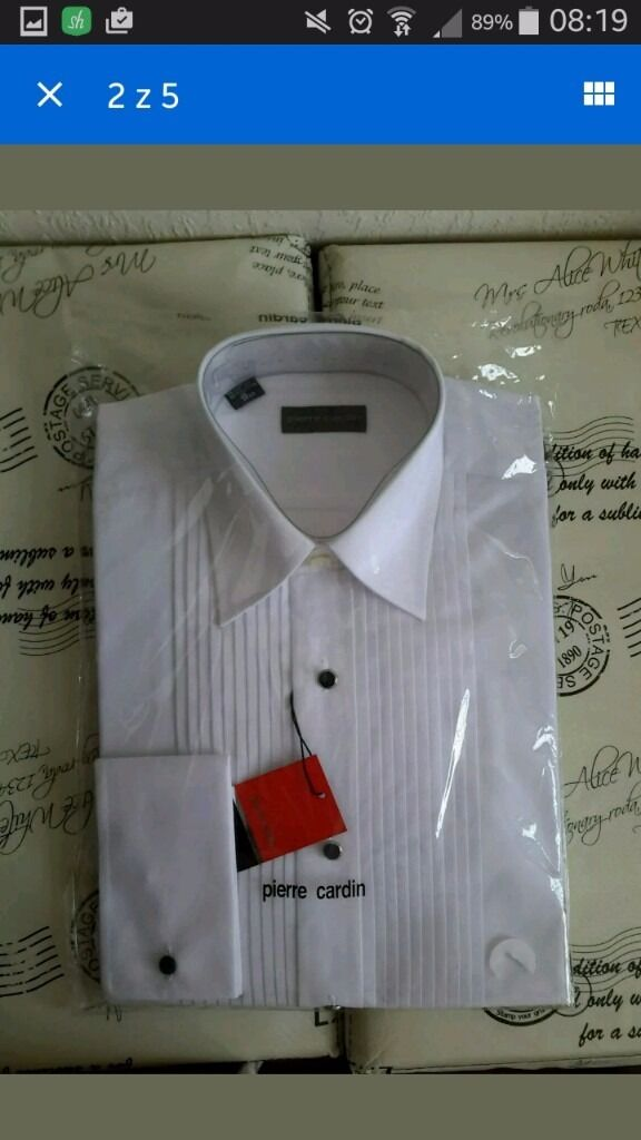 New Mens White Wedding Shirt Pierre Cardin Black Stud Buttons In