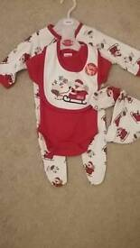 Newborn - 5 piece christmas outfit (new) sleep suit/vest/bib/hat and mittens