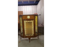 Vintage Art Deco Smith's Bowfronted Walnut Display Cabinet with Clock - L42