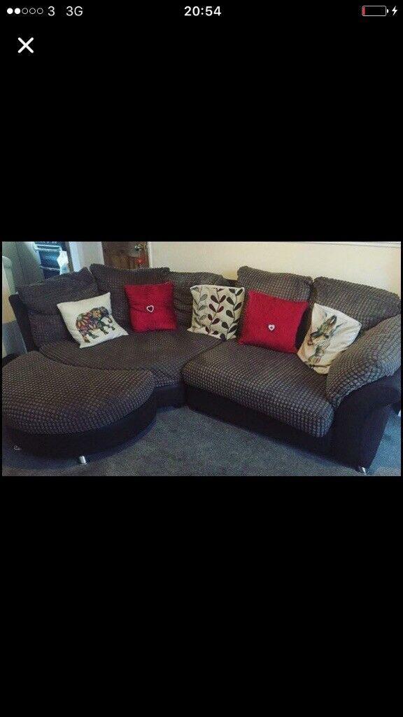 Sofa and foot stool (brown)