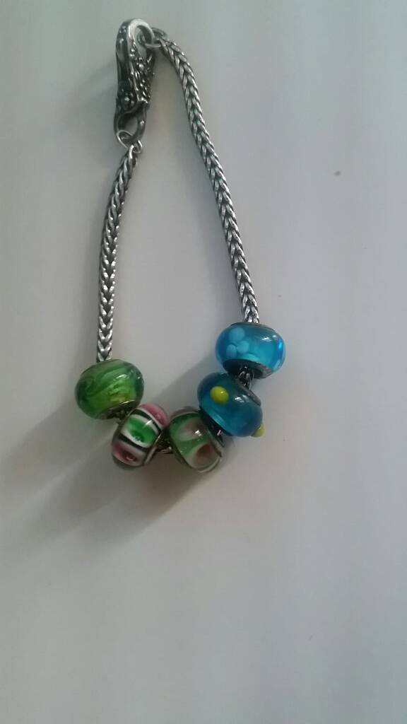 Trollbead silver bracelet and charms