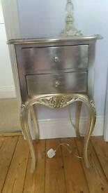 Silver Vintage bedside table & lamp