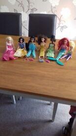 6 Disney Princess Dolls plus the Fairy Tinker Bell
