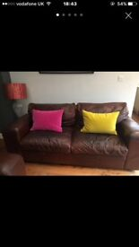 2 Leather Sofas in brown vintage leather