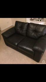 Black leather sofa (amazing condition)