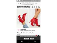 Ladies size 3 red high heel boots