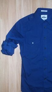 NWT-MENS-EXPRESS-FITTED-MILITARY-M2K-STRETCH-DRESS-SHIRT-NAVY-M-15-15-5