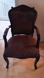 Boutique Chair Plum/Grey Damask. Lovely Condition
