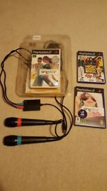 PS2 Singstar microphones and game plus 2 other games