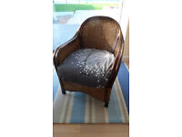 Pair of Bamboo Wicker Conservatory Lounge Chairs seats x 2 Grey white cushions