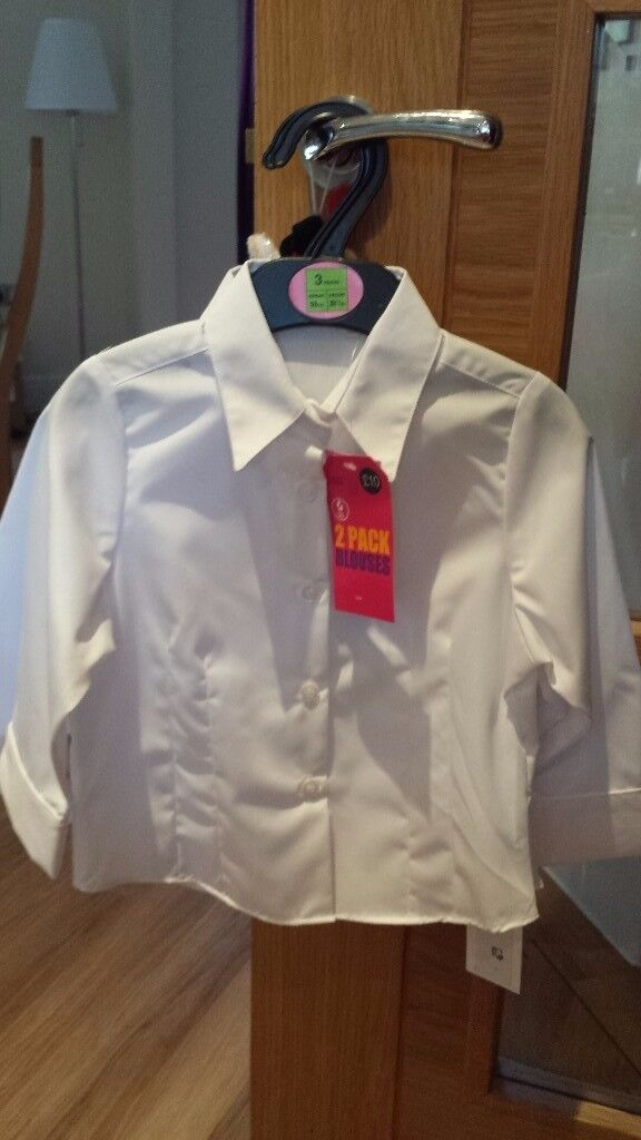 Brand new girls M&S white blouses: Age 3