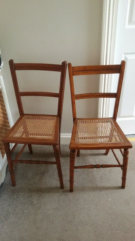 Two Old Vintage Bedroom Chairs With Cane Seats