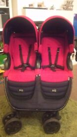 Britax b-agile double pushchair. Colour red.