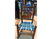 Wooden rocking chair and matching foot stool set. Handmade for chi
