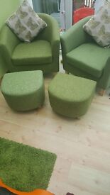 2 lime green tub chairs plus matching stools
