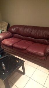Red Faux Leather Couch