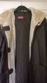 ladies teal leather duffle coat