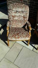 Armchairs- G plan style upholstered wooden armchairs