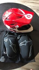 Mountain bike helmet and knew & elbow pads