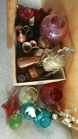 Selection of glassware, copper and brass