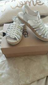 Silver gold and white ugg sandles