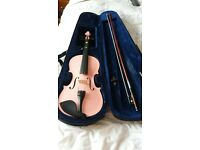 3/4 pink violin with bow and case