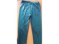 Mermaid leggings-shiny blue-one size