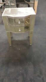 2 drawer glass and silver cabinet