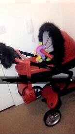 Mima xari limited edition Sicilian red pushchair, accessories & winter kit