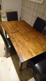 Extending 6-8 seater dining table and chairs, excellent condition