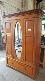 Hardwood vintage wardrobe with oval mirror