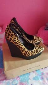 Leopard Print Wedge Shoes