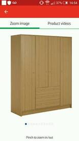 Oak wardrobe with drawers and matching drawer set