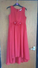 Girls red flowered prom dress