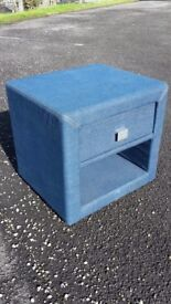 Blue denim fabric bedside table with drawer.Nightstand