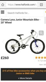 "Carrera Luna Junior Mountain Bike - 20"" Wheel. Excellent condition."