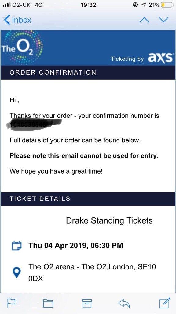 a4952e0c841 1x Drake Standing Tickets for sale £120 London O2. Bishops Stortford,  Hertfordshire