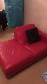 Red leather sofa - great condition