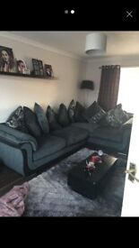 Corner sofa bed with 9 cushions
