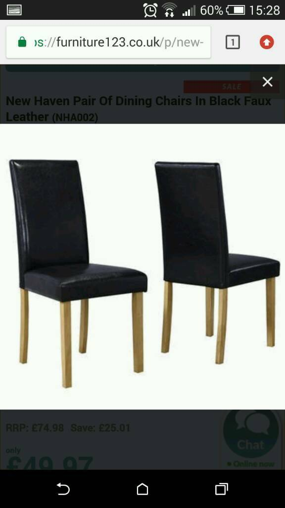 4 Faux Leather Wooden Dining Chairs