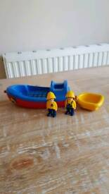 Playmobil vintage boat and tug with two characters