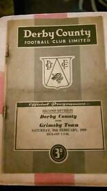 Derby County v grimsby 1959 football programme