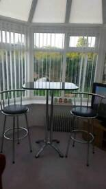 Black marble free standing breakfast bar and 2 stools